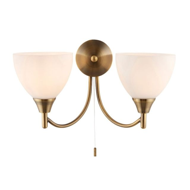 Pavilion Chic Fowey Double Wall Light in Antique Brass