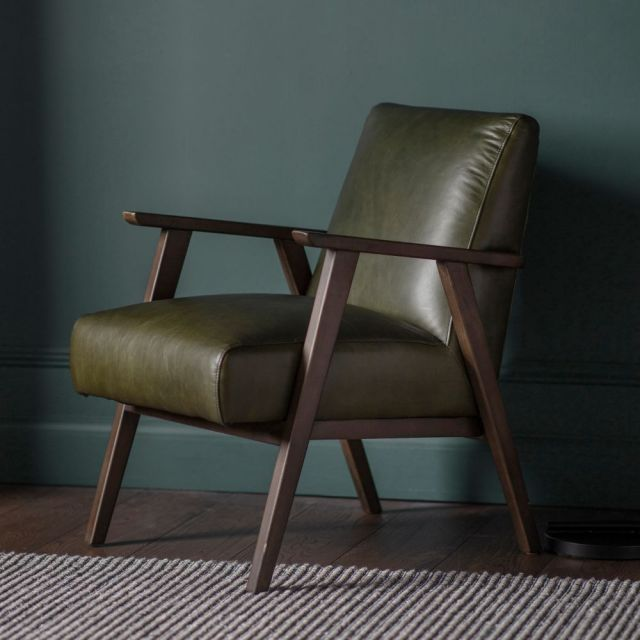 Pavilion Chic Hereford Mid Century Leather Armchair in Green