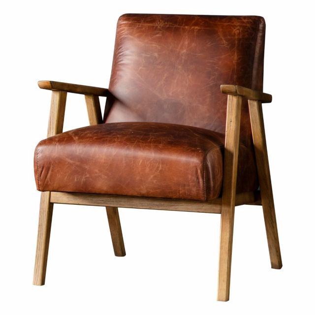 Pavilion Chic Hereford Mid Century Leather Armchair in Brown