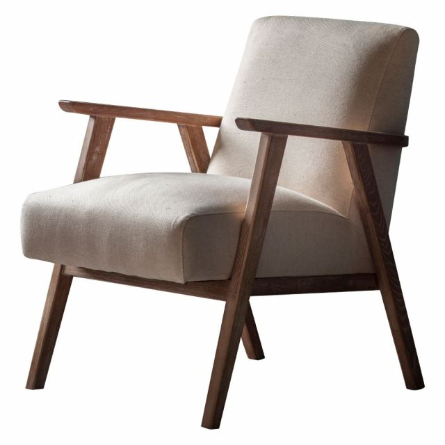 Pavilion Chic Hereford Mid Century Style Armchair in Natural Linen