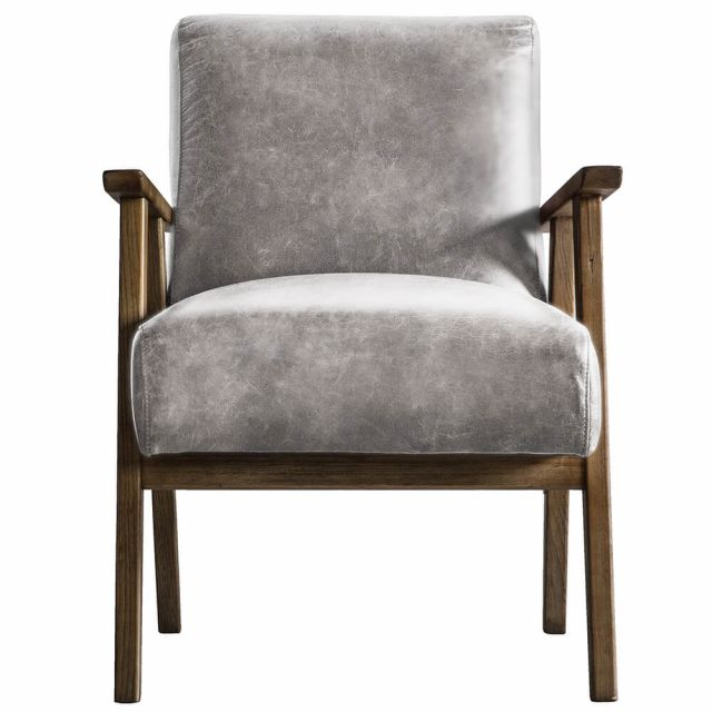 Pavilion Chic Hereford Mid Century Style Armchair in Pebble Linen
