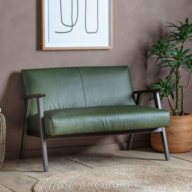 Pavilion Chic Hereford 2 Seater Sofa in Green Leather