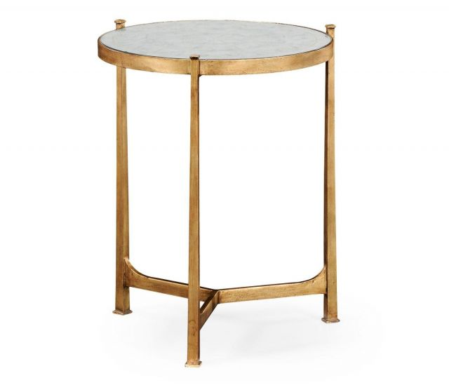 Jonathan Charles Round End Table Contemporary in Eglomise - Gilded