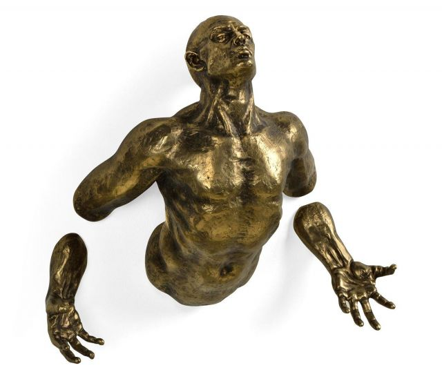 Jonathan Charles Floating Man Wall Sculpture in Antique Brass