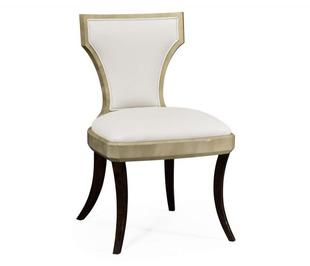 Jonathan Charles Dining Chair Klismos in Champagne - Cream Leather