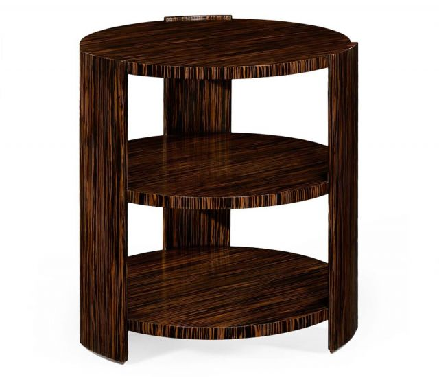 Jonathan Charles Round Side Table Three-Tier in Macassar Ebony