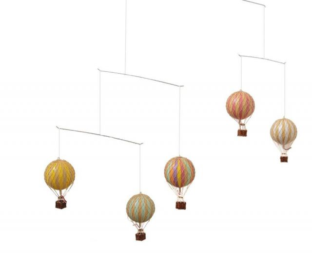 Authentic Models Hot Air Balloon Mobile In Pastel Rainbow