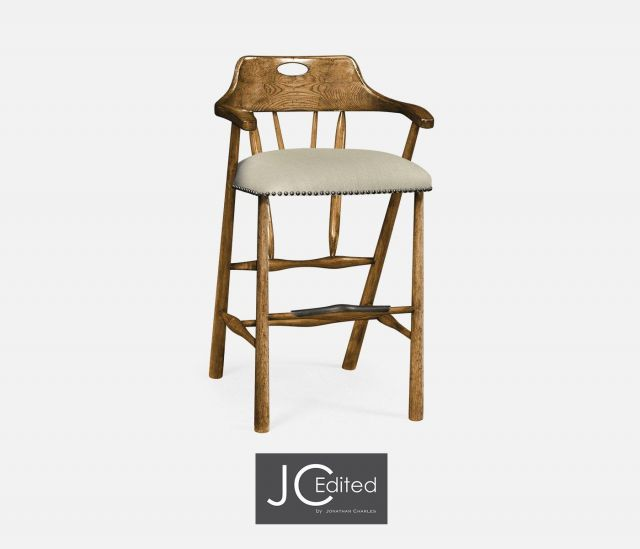 Jonathan Charles Bar Stool Smokers Style in Chestnut