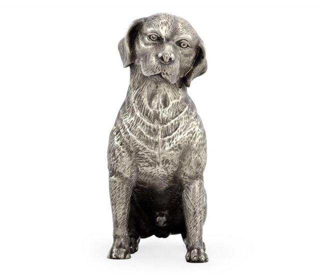 Jonathan Charles Beagle Dog Figurine - White Brass