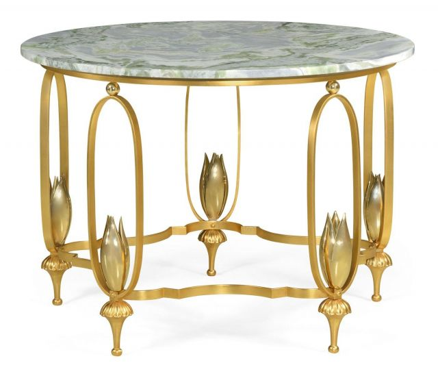 Jonathan Charles Centre Table Contemporary with Green Marble Top