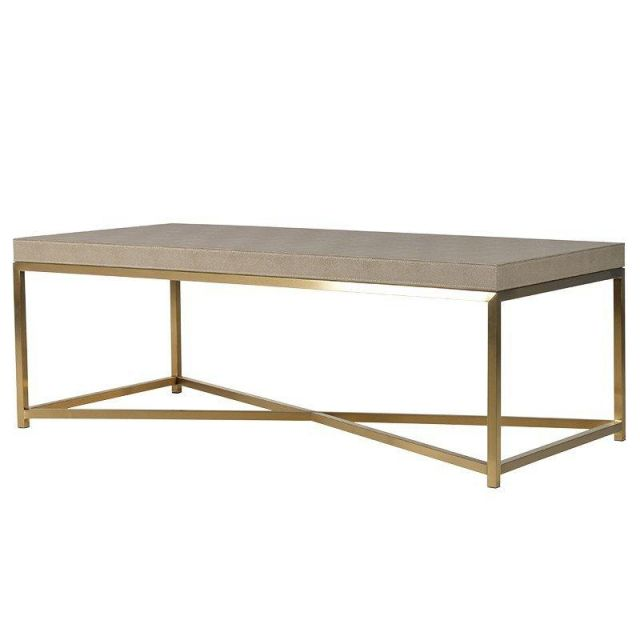 Pavilion Chic Coffee Table Pearl in Faux Ostrich