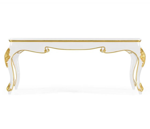 Jonathan Charles Coffee Table Monaco in White with Glass