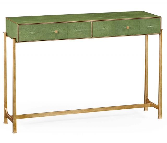 Jonathan Charles Console Table 1930s in Green Faux Shagreen