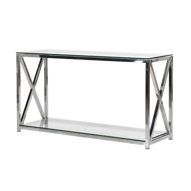 Pavilion Chic Console Table Fort with Glass Top