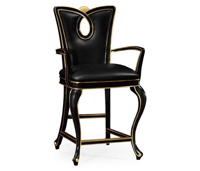 Jonathan Charles Counter Chair Biedermeier in Black - Leather