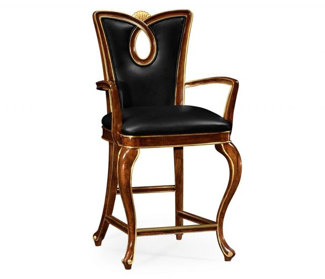 Jonathan Charles Counter Chair Biedermeier in Mahogany - Leather