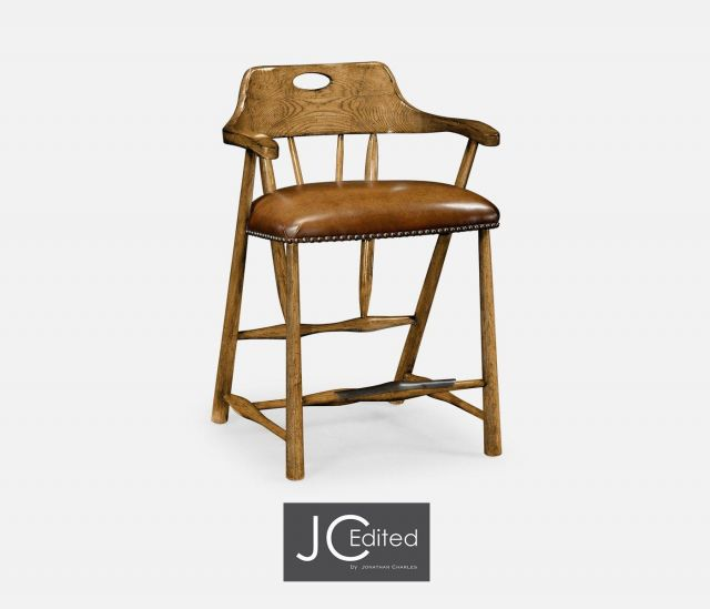 Jonathan Charles Counter Stool Smokers Style in Chestnut - Leather