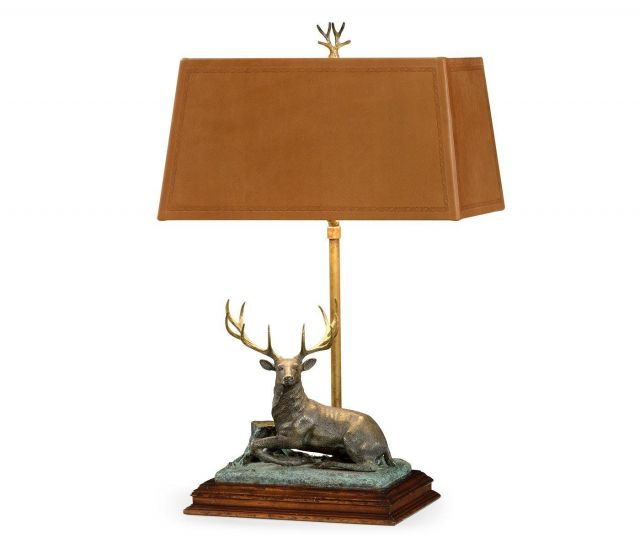 Jonathan Charles Table Lamp Deer in Dark Bronze