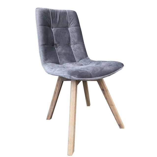 Atlanta Dolphin Grey Velvet Dining Chair with Grey Leg