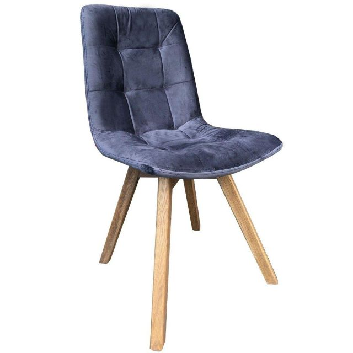 Atlanta Tempest Grey Blue Velvet Dining Chair with Grey Leg
