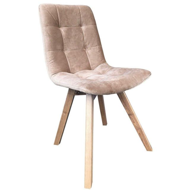 Atlanta Tobacco Taupe Velvet Dining Chair with Grey Leg