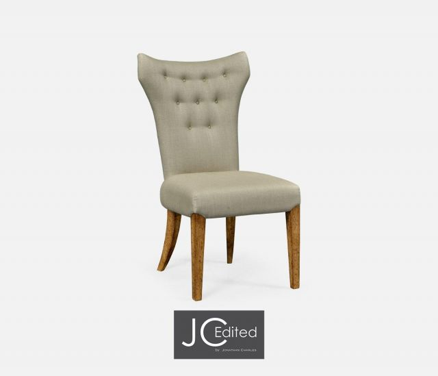 Jonathan Charles Winged Dining Chair with Chestnut Leg