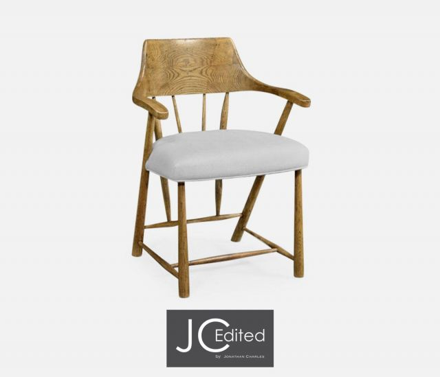 Jonathan Charles Dining Chair with Arms Smokers Style in Chestnut - COM