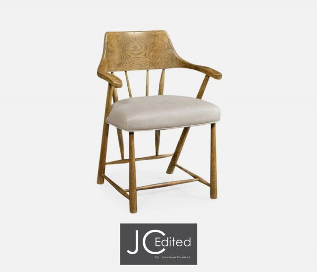 Jonathan Charles Dining Chair with Arms Smokers Style in Chestnut - MAZO