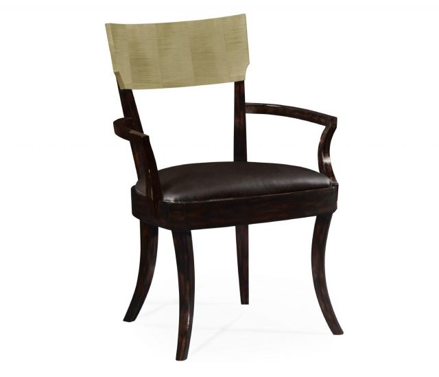 Jonathan Charles Dining Chair with Arms Art Deco in Champagne