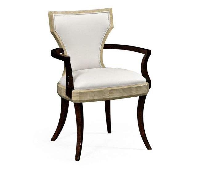 Jonathan Charles Dining Chair with Arms Klismos in Champagne