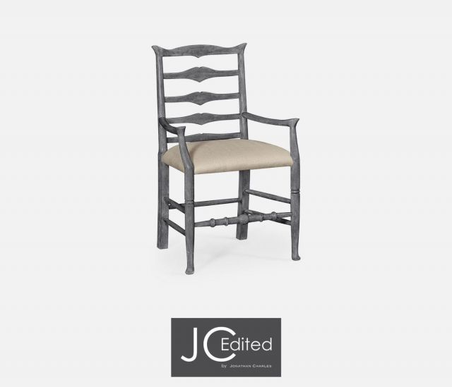 Jonathan Charles Dining Chair with Arms Rustic Ladder Back in Mazo