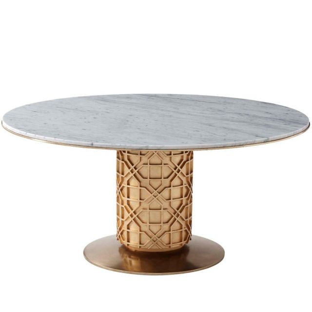 Theodore Alexander Colter Large Round Dining Table in Marble