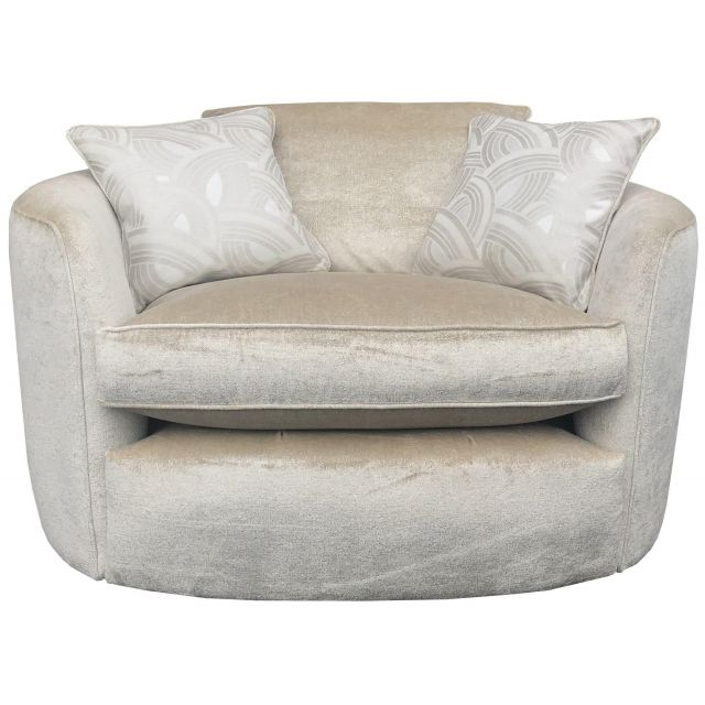 Duresta Swivel Chair Oxford in Velvet Ivory Supernova