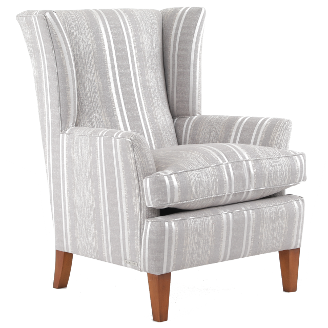 Duresta Clearance Grafton Wing Chair in Florence Stripe Champagne