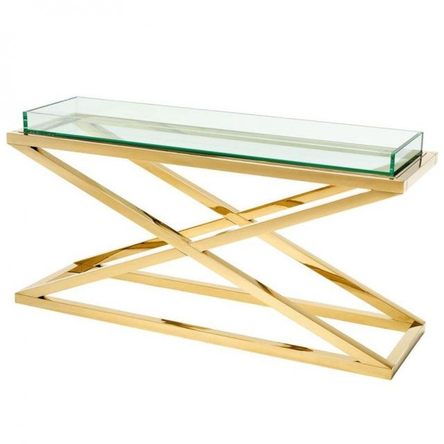 Eichholtz Console Table Curtis in Glass with Steel X-Leg