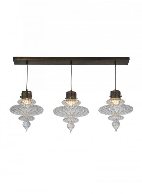 Heathfield & Co. Basilica 3 Rectangle Polished Nickel Ceiling Pendant Light