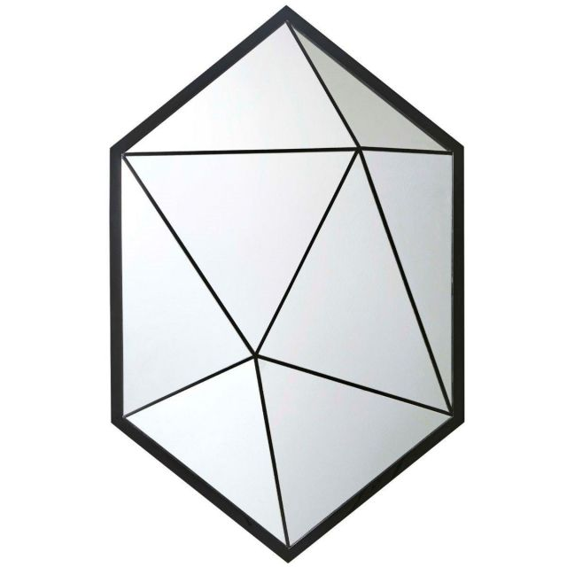Theodore Alexander Hexagon Wall Mirror Vlad - Black Lacquer