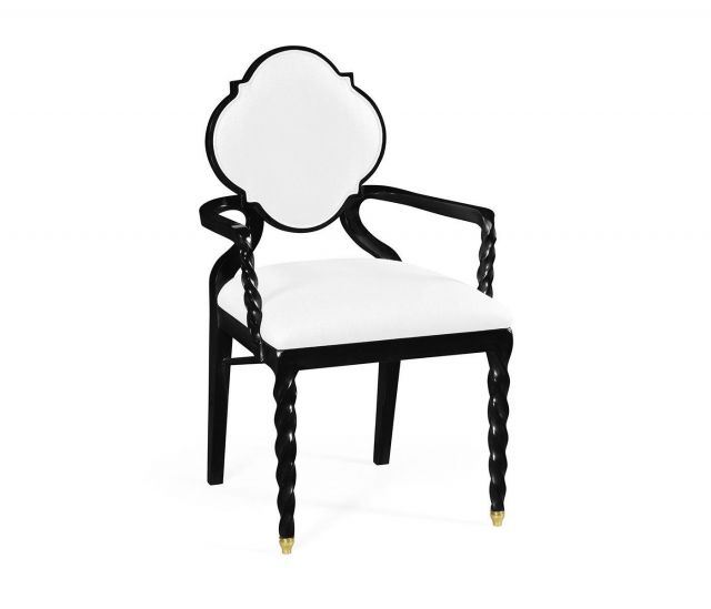 Jonathan Charles Dining Chair with Arms Barley in Black - COM