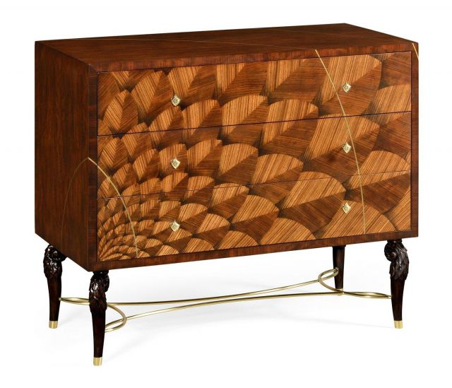 Jonathan Charles Chest of Drawers with Feather Inlay