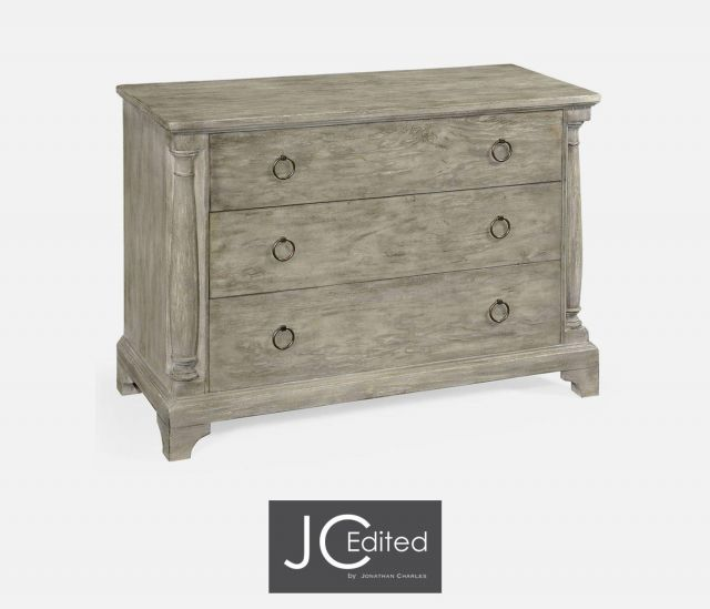 Jonathan Charles Large Chest of Drawers Rustic on Pedestal Base