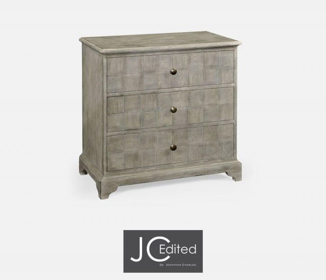 Jonathan Charles Small Chest of Drawers Rustic on Pedestal Base