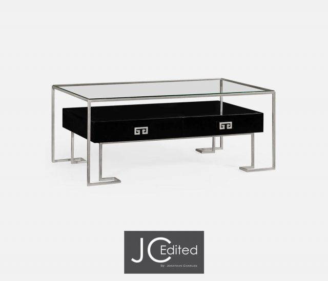 Jonathan Charles Coffee Table Hestia with Drawer in Black