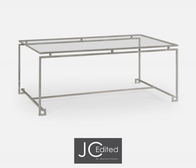 Jonathan Charles Rectangular Coffee Table Hestia in Silver