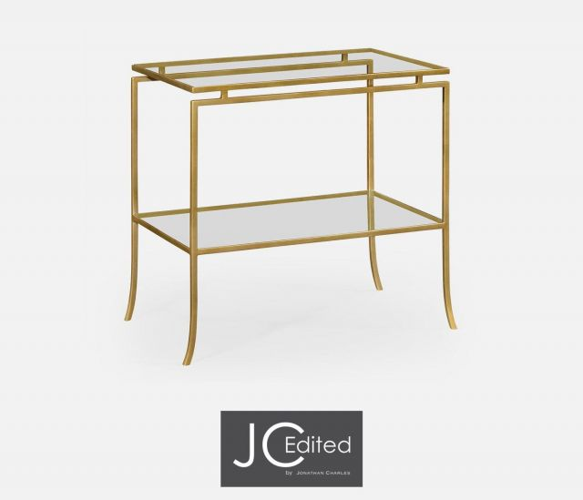 Jonathan Charles Rectangular Side Table Hestia in Gold