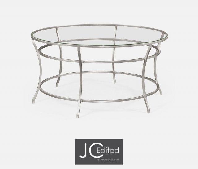 Jonathan Charles Round Coffee Table Hestia in Silver