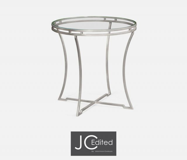 Jonathan Charles Round Side Table Hestia in Silver