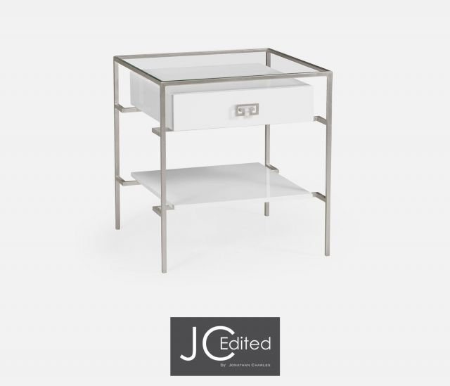 Jonathan Charles Side Table Hestia in White