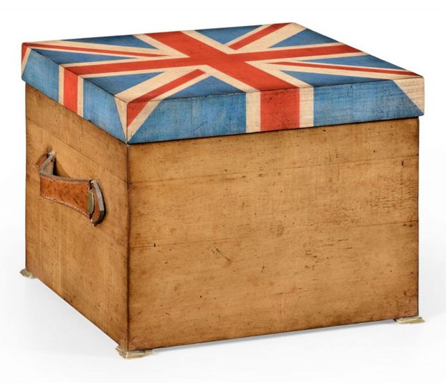 Jonathan Charles Decorative Box Union Jack in Light Walnut