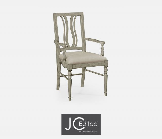 Jonathan Charles Dining Chair with Arms Rustic Curved Back in Mazo