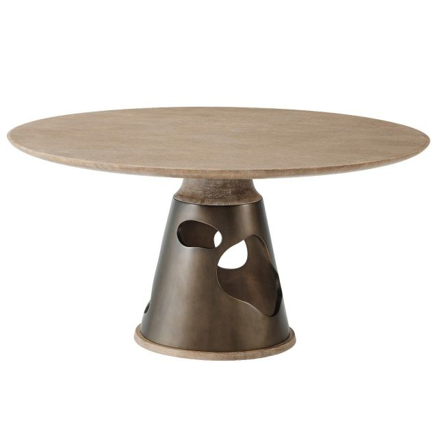 Theodore Alexander Round Dining Table Flint in Sandalwood Oak